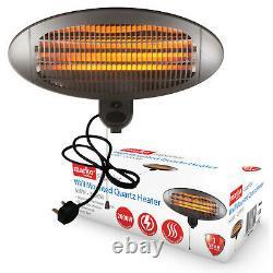 2KW Quartz Patio Heater Wall Mounted Outdoor Electric Garden BBQ 3 Heat Settings