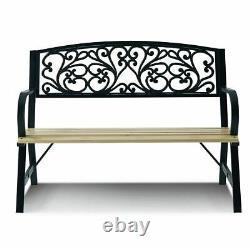 2-3 Seater Garden Bench Metal Wooden Seat Backrest Patio Chair Armrest Outdoor