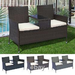 2 Seater Loveseat Garden Patio Tea Table Outdoor Furniture Rattan Wicker