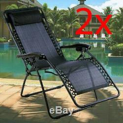 2 X Sun Lounger Outdoor Summer Garden Patio Gravity Chair Recliner Bed Reclining