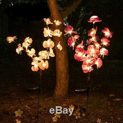 2 pack Orchid Flowers Solar Garden Stake Lamp For Yard Outdoor Patio Decor