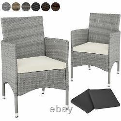 2 x Poly Rattan Garden Chairs Wicker Outdoor Armchair Set + Cushion Pads Terrace