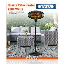 2kW Patio Heater Garden Free Standing Electric Halogen Garden Warmer IP34 (PAIR)