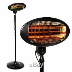 2kw Free Standing Electric Patio Heater Garden Outdoor Waterproof Quartz 2000W
