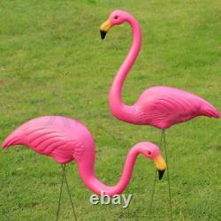 2pc Plastic Lawn Flamingo Garden Pond Ornament Pink Decoration Stand Patio