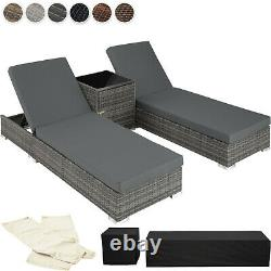 2x Aluminium Rattan Loungers Table Set Sun Canopy Recliner Patio Outdoor Garden