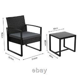 3 Piece Garden Patio Furniture Sets Rattan Bistro Sets Outdoor Wicker Chairs