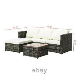 3-Piece Patio Furniture Set PE Rattan Garden Furniture Outdoor Corner Sofa Couch