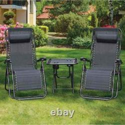 3 Piece Zero Gravity Reclining Garden Patio Deck Chair Sun Lounger & Table Set