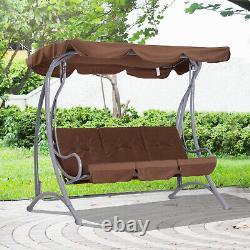 3 Seater Outdoor Garden Patio Metal Swing Chair Swinging Hammock Cushioned Bench