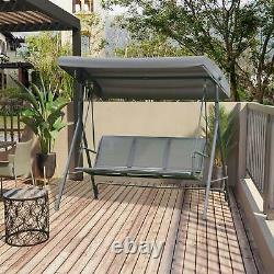 3 Seater Swing Chair Garden Hammock Canopy Patio Outdoor Bench Seat Olive Grey