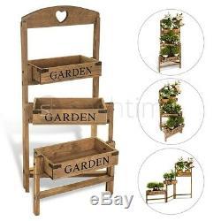 3 Tier Garden Flower Planter Patio Pot Shelf Stand Outdoor Indoor Wooden Crate
