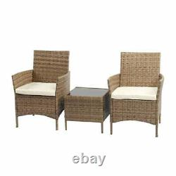 3pcs Rattan Patio Furniture Set Outdoor Garden Set Coffee Table with 2 Arm chair