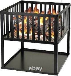 40cm Square Fire Pit BBQ Grill Heater Outdoor Garden Firepit Brazier Patio Black