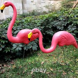 4Pcs PATIO DECORATION GARDEN PINK FLAMINGO BIRD LAWN POND ORNAMENTS STATUE