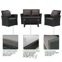 4 Piece Rattan Garden Patio Furniture Outdoor Set Sofa, Chair, Coffee Table UK