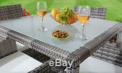 5PC Rattan Dining Set Outdoor Garden Patio Furniture 4 Chairs & Square Table