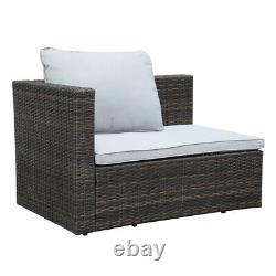 5 Seater Patio Lounge Rattan Garden Furniture Set Chairs Table Outdoor & Cushion