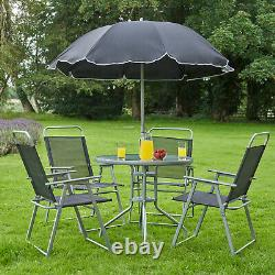 6PC Garden Patio Furniture Set Outdoor Grey 4 Seat Round Table Chairs & Parasol