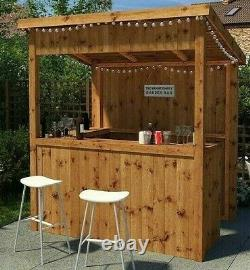 6x4 GARDEN BAR TIKI PUB OUTDOOR HOME PATIO DRINKS PRESSURE TREATED WOOD 6FT 4FT