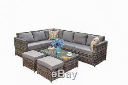 8 Seater Outdoor Garden Patio Rattan Corner Sofa & Coffee Table Set