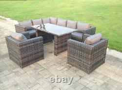 8 Seater Rattan Garden Sofa Dining Table Set Chairs Outdoor Furniture Grey Patio