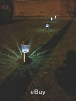 8 X Solar Powered Garden Lights Post Patio Outdoor Led Lighting Stainless Steel