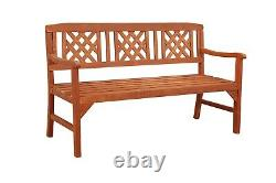 BIRCHTREE Outdoor 3 Seat Chair Garden Bench Wood Spruce Patio Park WGB01 Natural