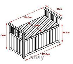 BIRCHTREE Wooden Garden Bench 2 Seater Storage Box with Lid Outdoor Patio Deck