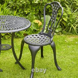Black Bistro Set Outdoor Patio Garden Furniture Table and 2 Chairs Metal Frame
