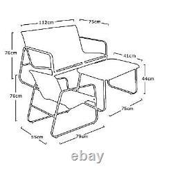 Black Mesh Outdoor Furniture Set 4 Piece Sofa Glass Table 2x Chairs Garden Patio