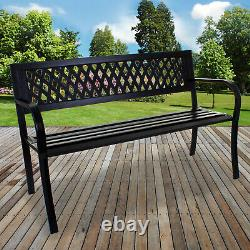 Black Metal Garden Bench Outdoor Furniture Patio 3 Seater Home Park Seating NEW