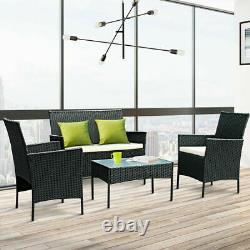 Black Rattan Garden Furniture Set 4 Piece Chairs Sofa Table Outdoor Patio Set Uk