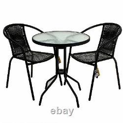Black Wicker Bistro Sets Table Chair Patio Garden Outdoor Furniture Diner Home