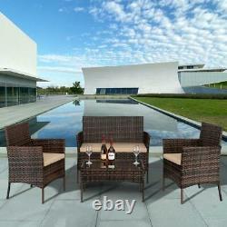 Brown Rattan Outdoor Garden Furniture Set 4 Piece Chairs Sofa Table Patio Set UK