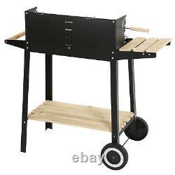 Charcoal Grill Rectangular BBQ Barbecue Steel Outdoor Patio Garden Wheels