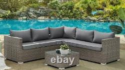 Corner Rattan Sofa Set Outdoor Garden Furniture Patio L-Shaped Grey Dining Set
