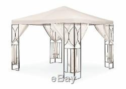 Cream 2.5m Garden Gazebo Polenza Party Tent Patio Shade Outdoor Sun Canopy Nets