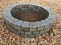 Dark gray fire pit granite slab fire place DIY Garden Patio bricks Terrace Decor