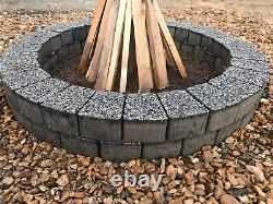 Dark gray granite fire pit stone DIY Garden Patio, fireplace very unique trapeze