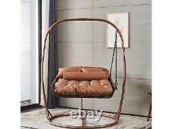 Double Egg Chair Swing Rattan Hanging Garden Patio Indoor/Outdoor. Luxury Brown
