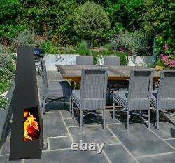 Fire Pit Garden Large Outdoor Garden Patio Black Steel Contemporary Chiminea