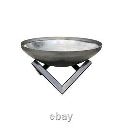 Fire Pit Steel Durable Outdoor Garden Bowl Dish Patio Heater 60cm BBQ Log Burner