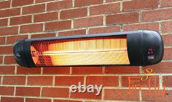 Firefly 2kW Electric Patio Heater Infrared Wall Outdoor Garden w Remote Control