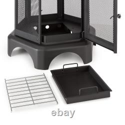 Fireplace Garden BBQ Patio Heater Outdoor Wood Charcoal Burner Steel Spark Grate
