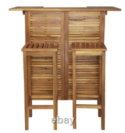 Garden Bar Set Outdoor Patio Chairs Wooden Dining Furniture 2 Stools Pool Table