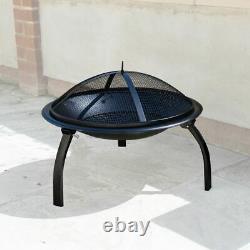 Garden Fire Pit Outdoor Wood Log Burner Bbq Patio Heater Metal Camping Brazier