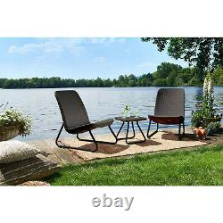 Garden Furniture Set 3pcs Chairs Coffee Table Patio Balcony Outdoor Modern Solid