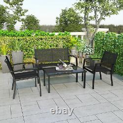 Garden Furniture Set 4 Seater Sofa Chairs Rectangular Table Patio Outdoor Black