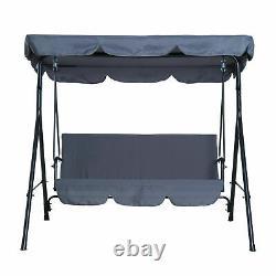 Garden Metal Swing Chair 3 Seater Hammock Patio Canopy Bench Lounger
